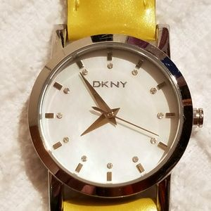 DKNY Mother of Pearl Dial Watch Yellow Leather